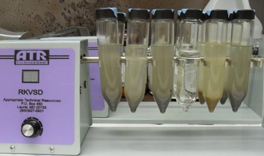 coal ash samples in the lab
