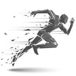 featureless computer drawing of a person sprinting