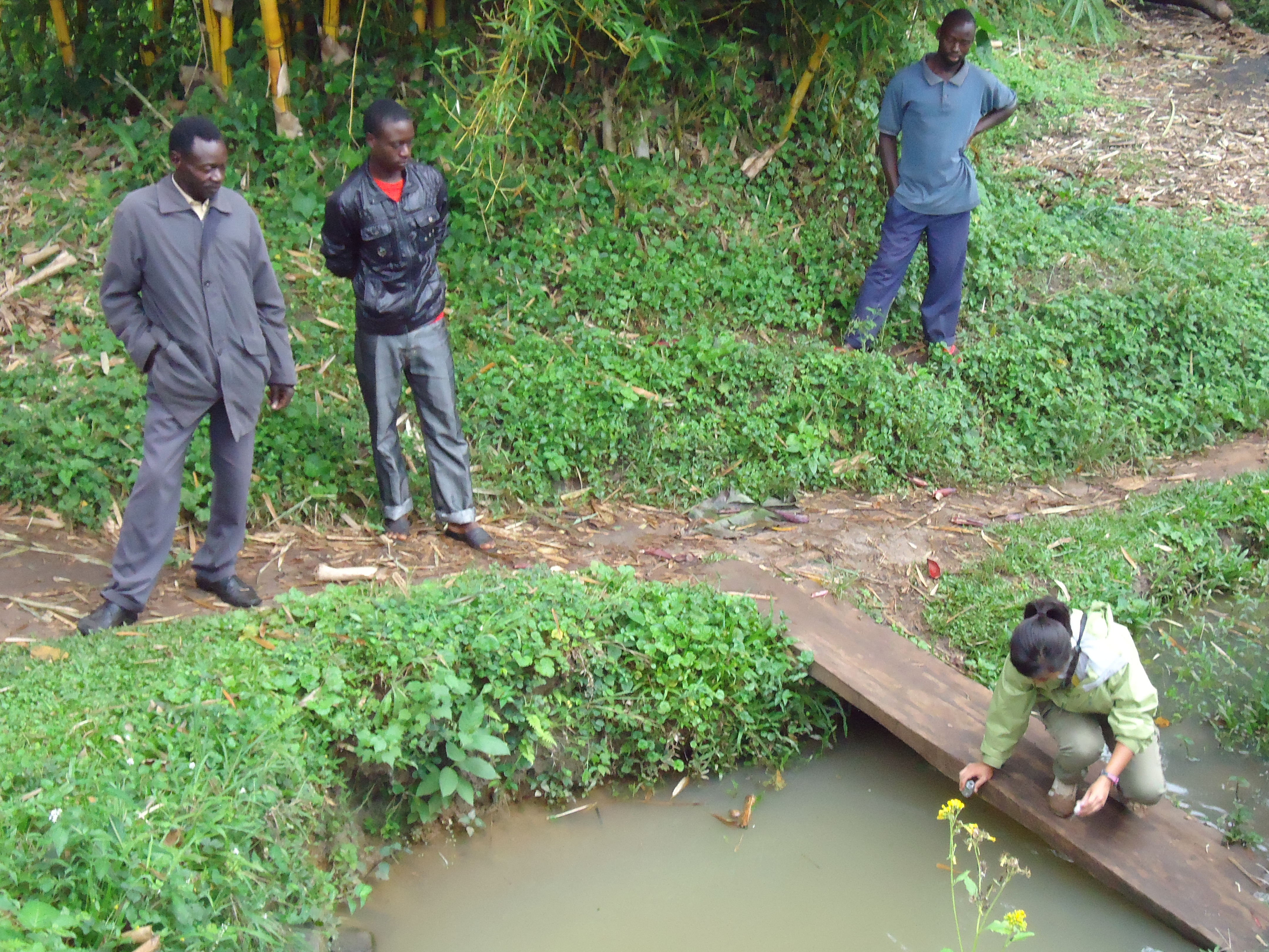 Mona Dai taking water samples in Uganda