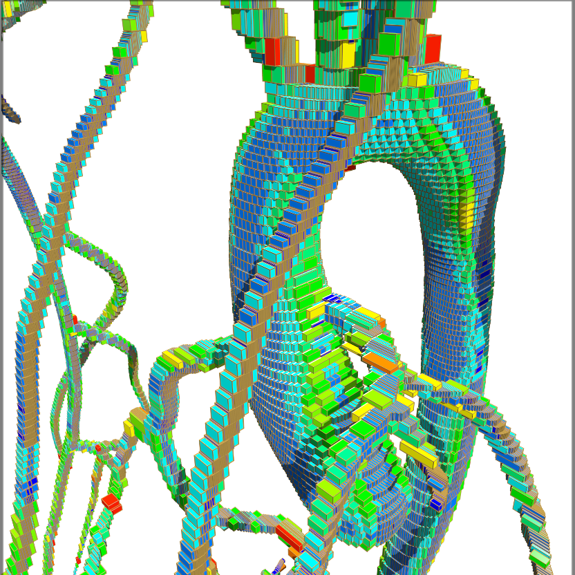 To maximize computing efficiency, the blood flow in an aorta is split geometrically between different processors. Each box is handled by a different processor, with the color indicating how active that processor is while running a particular task.