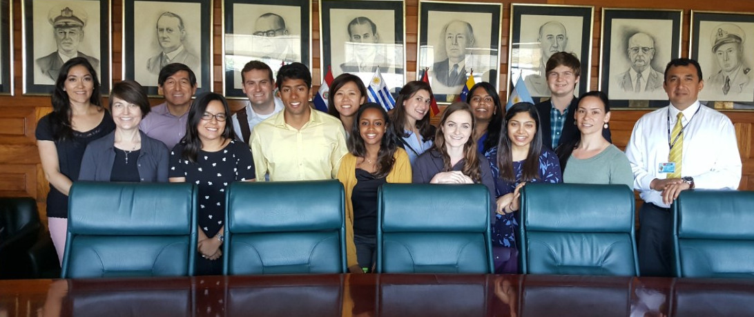 A group of students from the Bass Connections: Pocket Colposcope team visit the Ministerio de Salud (The Ministry of Health) in Lima, Peru during their research trip over spring break.