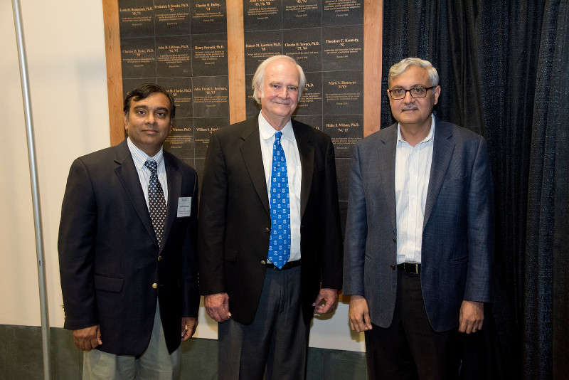 Krishnendu Chakrabarty with colleagues Blake Wilson and Ashutosh Chilkoti at a celebration of Wilson's election to the National Academy of Engineering