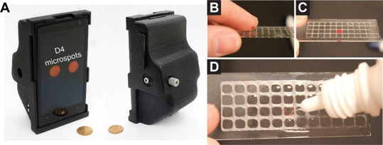 Image A shows the smartphone attachment to read results. Images B-D show how to add a sample to the D4 assay.