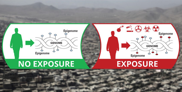 DARPA graphic contrasting a clean epigenome with one affected by exposures to weapons of mass destruction