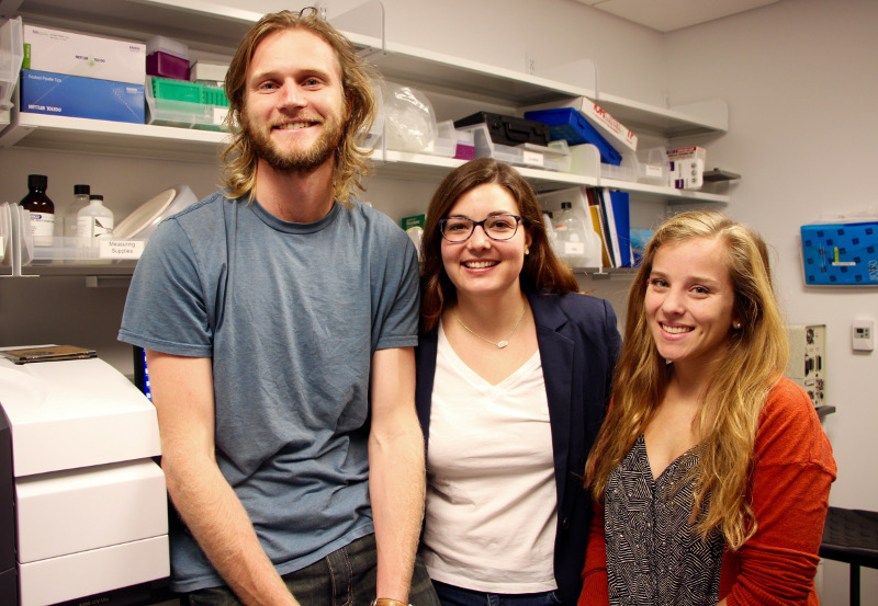 Robert Morhard, Jenna Mueller, and Corrine Nief of Nimmi Ramanujam's lab are working to develop an enhanced ethanol ablation strategy to treat cancerous tumors.