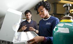 Nico Hotz and Titilayo Shodiya in the lab