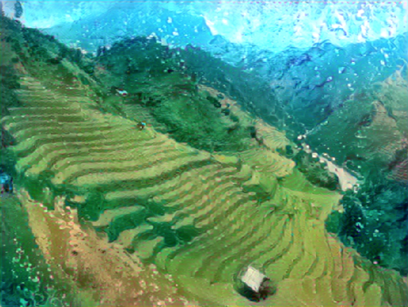 A smudgy green and blue painting of a hilly mountain range