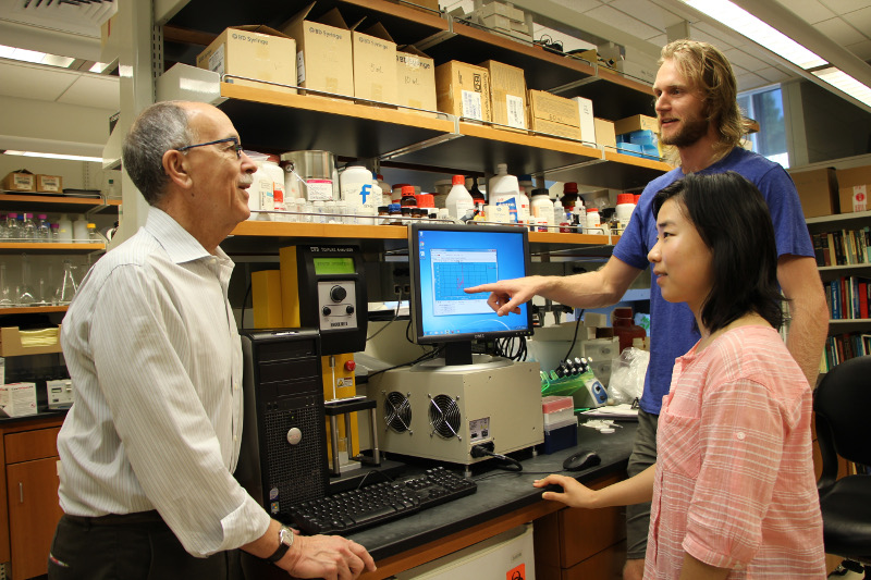 David Katz discusses results with Rob Morhard and lab member Nancy Zhang.