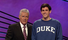 Greer Mackebee and Jeopardy! host Alex Trebek