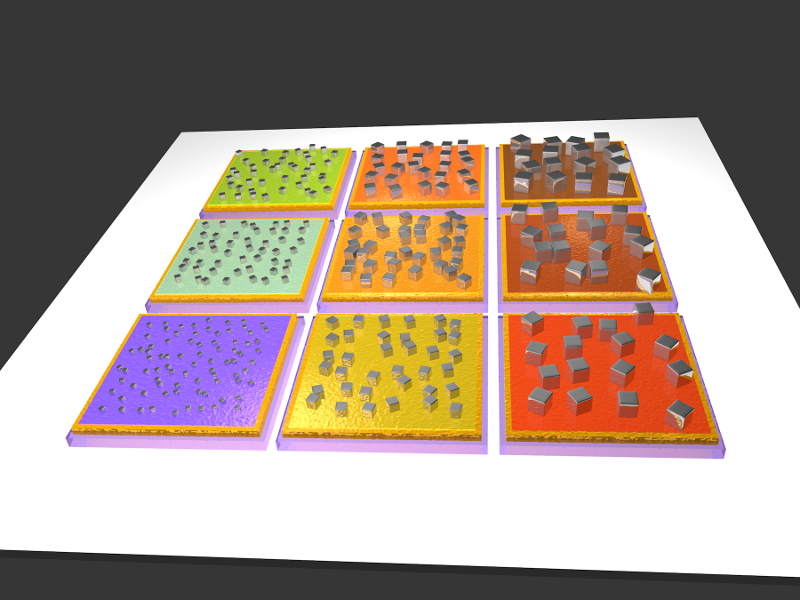 A grid of nine squares, each with a differently colored surface and a different size of nanocubes on its surface