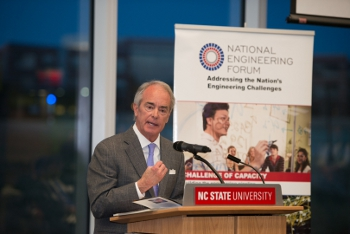 Jim Rogers, chairman of the board and former CEO of Duke Energy spoke about the importance of the American engineering enterprise Wednesday night at the National Engineering Forum's Raleigh-Durham regional dialogue.