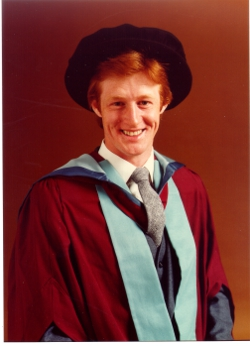Needham in 1981 graduating with a PhD in gas-solid catalysis from Nottingham University's  Department of Physical Chemistry.
