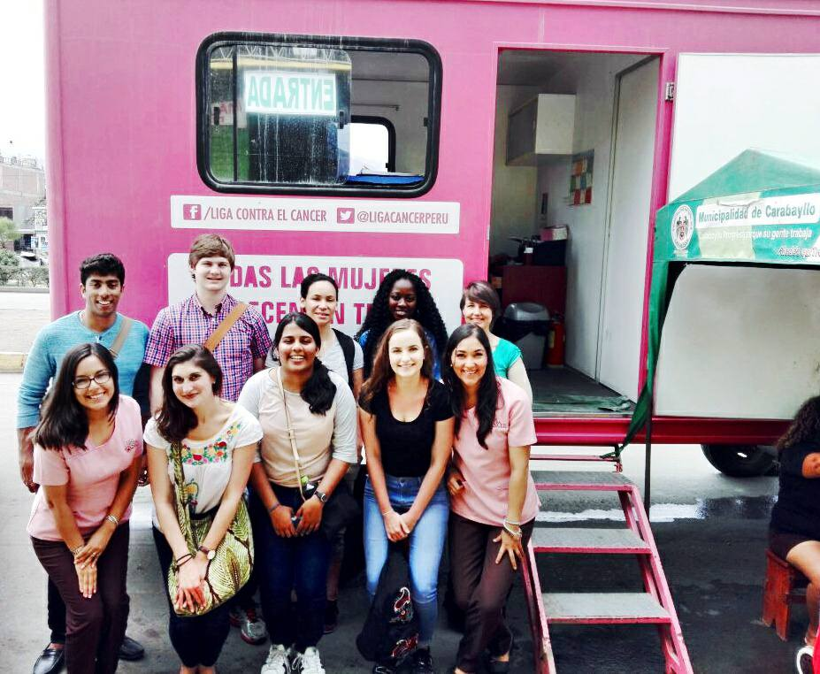 Students visited mobile clinics outside of Peru, where women receive Pap smears and other health services.