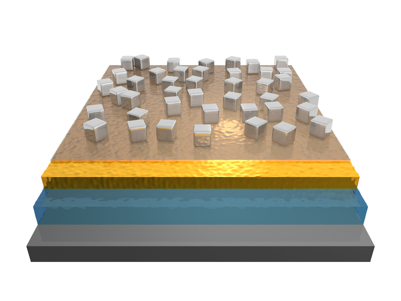 The new photodetectors allowing multispectral cameras with unprecedented frequency range are built from three layers. The size and spacing of silver nanocubes on a thin layer of gold dictates what frequency they absorb, causing them to heat up. A thin layer of a pyroelectric material called aluminum nitride then converts the heat to an electric signal, which is picked up and carried by a layer of silicon semiconductor on bottom.