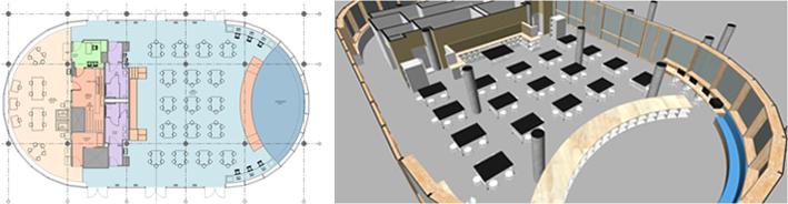 Renderings of the new floor plan and workspace