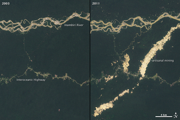 Side-by-side comparison of satellite images of an Amazon river without forests cleared from mining and with forests cleared for mining