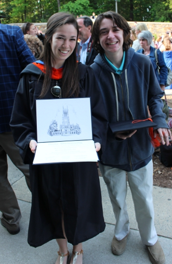 Rhianna Lee with her little brother Al at her Duke graduation ceremony