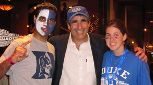 Dean Katsouleas with seniors Ankit Prasad and Alaina Pleatman after Duke wins the 2010 NCAA Championship