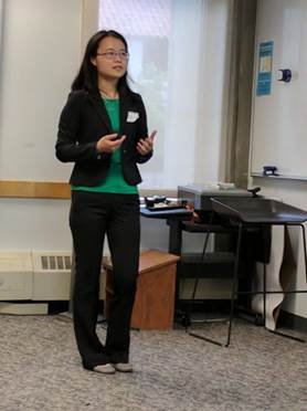 Jing Li presents her research at the Women in Aerospace Symposium
