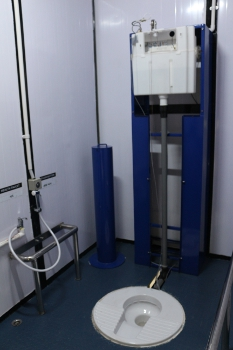 An interior look at the prototype sanitation system. A new human waste system could significantly impact the livelihood of the more than 2.5 billion people worldwide who do not have access to safe and effective sanitation. In India, 597 million people in India resort to open defecation every day, and diarrheal disease is estimated to kill one child nearly every minute.