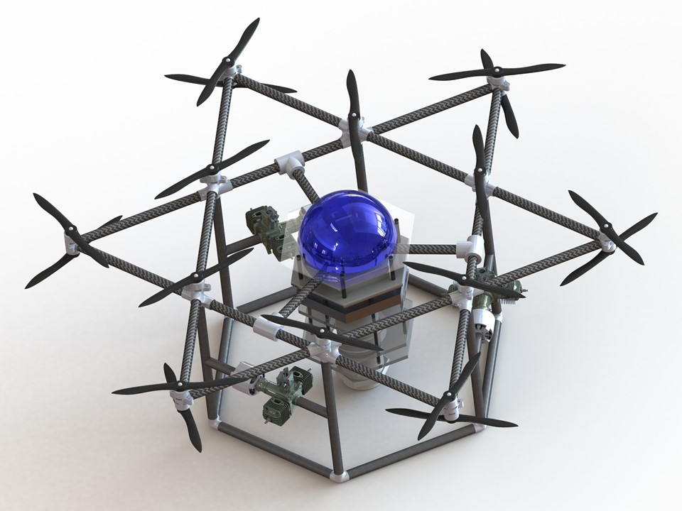 A computer-generated rendering of the initial prototype for the heavy-lifting drone designed to compete in the Ocean Discovery XPRIZE.
