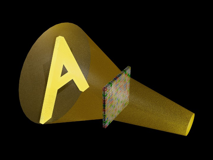A computer rendering of a sound wave that traveled through an array of acoustic metamaterial and was shaped into a pattern like the letter A one foot past the array. This pattern could not be seen, only heard.