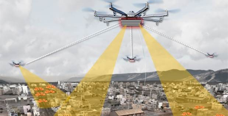 a graphic of a drone flying above a city and sending monitoring signals down into it