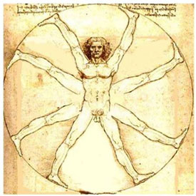 Da Vinci's famous painting showing a man on a wheel