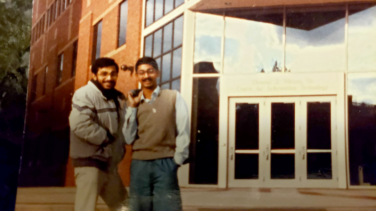 Ravi Bellamkonda, right, with his friend Arindam Mitra shortly after Bellamkonda's arrival in the U.S. in 1989.