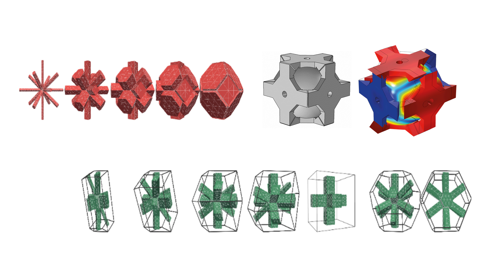 3D graphic representations of various crystalline structures