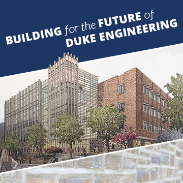 Building for the Future of Duke Engineering text with watercolor rendering of new building