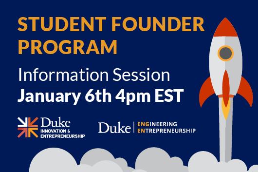 Student Founder Program Information Session January 6th 4pm EST