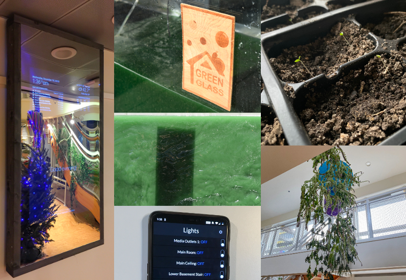 A collage of several of the smart home projects, including a planter, algae growing in a tank, and a mirror that looks like a smart phone screen
