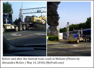 Before and after the Amtrak train crash in Meban (photos by Alexandra McGee / May 14, 2010) (MyFox8.com)