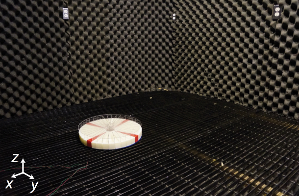 The prototype sensor is tested in a sound-dampening room to eliminate echoes and unwanted background noise.