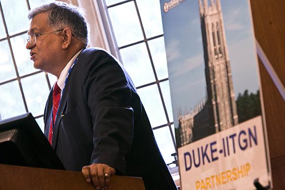 Sudhir Jain, director of IITGN, addresses the audience at Duke