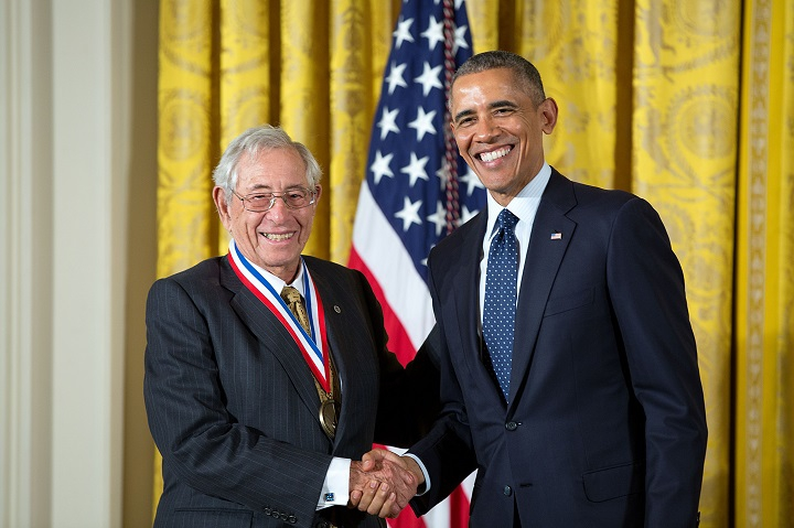 Robert Fischell receives the White House's National Medal for Technology and Innovation from President Barack Obama