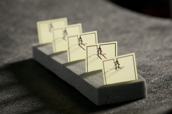 This five-cell metamaterial array developed by Duke engineers converts stray microwave energy, as from a WiFi hub, into more than 7 volts of electricity with an efficiency of 36.8 percent—comparable to a solar cell.
