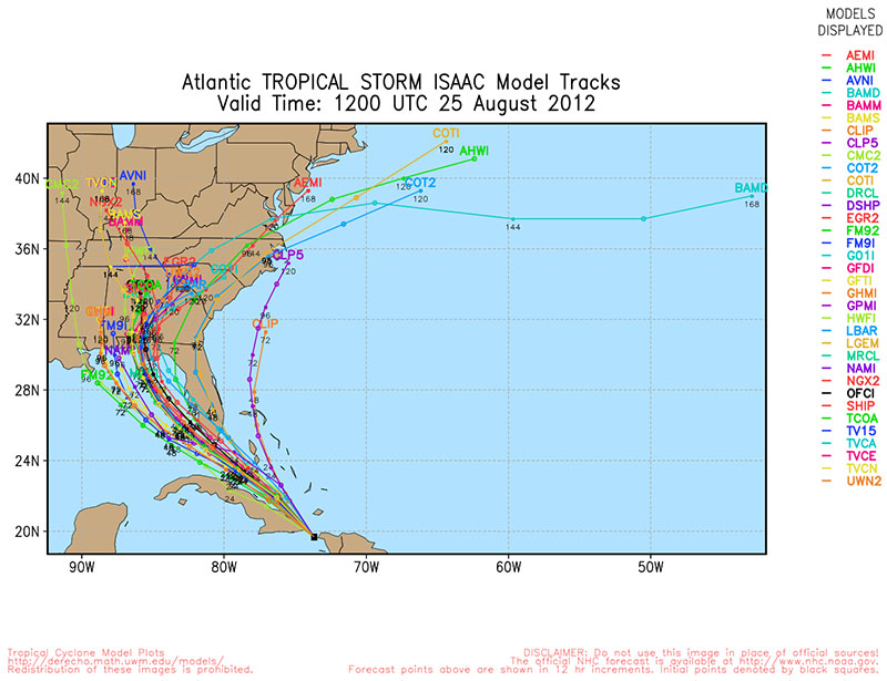 spaghetti model of Hurricane Isaac