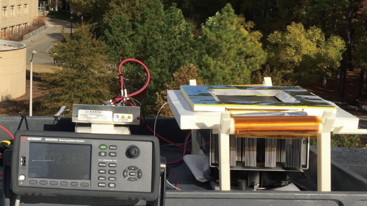 devices with wires shown on the rooftop of a building at Duke University