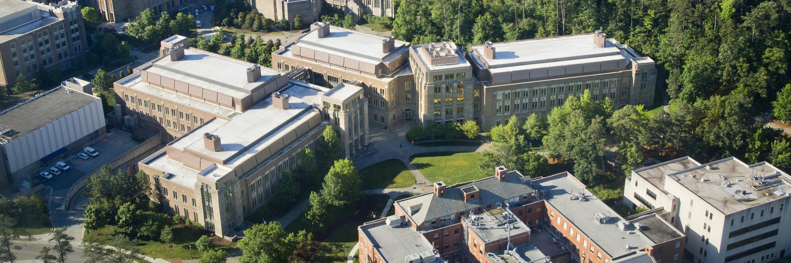 aerial view of Duke Engineering campus