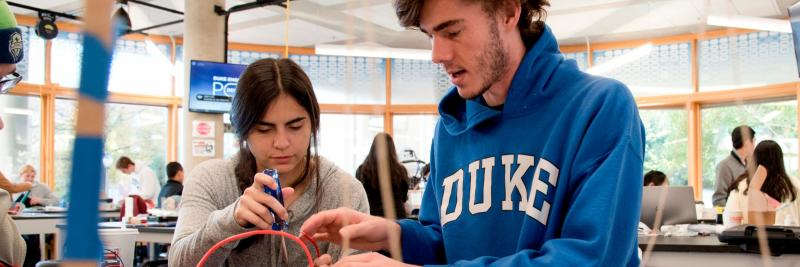 In your very first year at Duke, you receive instruction in real-world design—through our first-year design course, EGR 101L