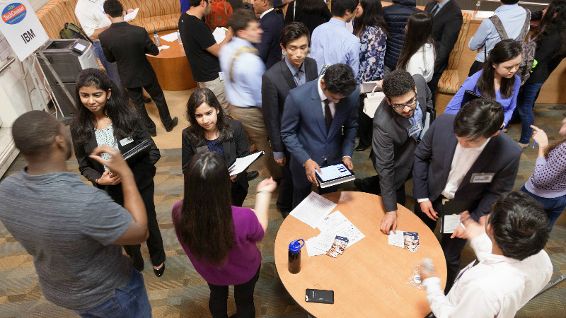 students at a TechConnect networking event