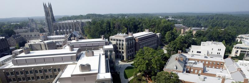 Aerial view of the Duke engineering campus