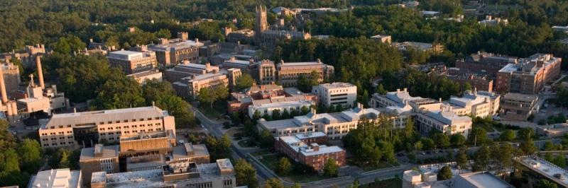 aerial view of Duke campus