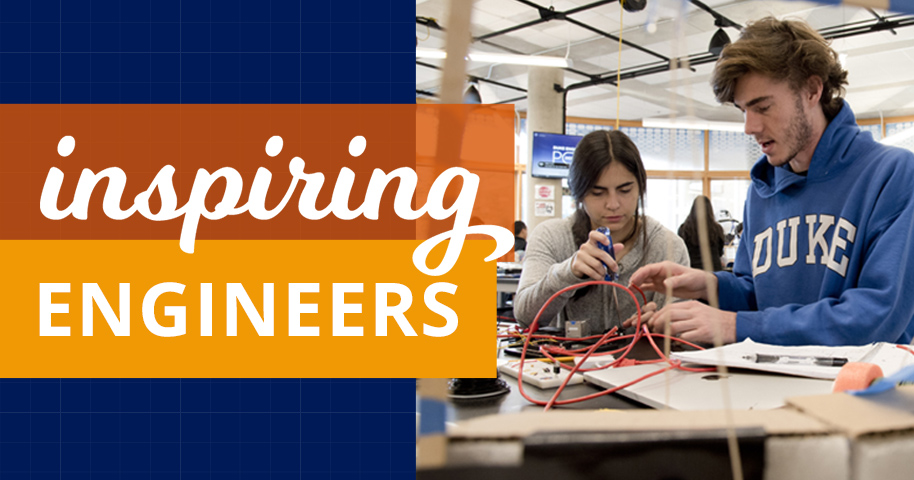 Inspiring Engineers text with photo of students working in the Duke Engineering Design Pod