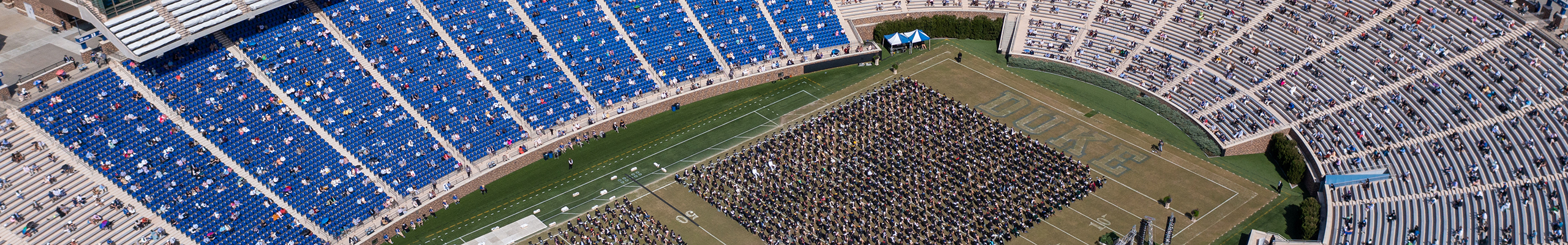 aerial view of the undergraduate ceremony in Wallace Wade Stadium