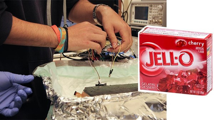 A pair of hands works with jello in a kitchen