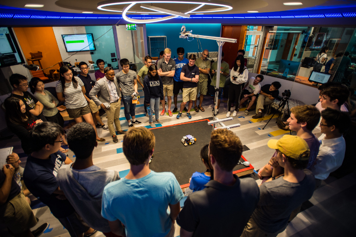 Duke Robotics Club's first annual Bot Battle drew a crowd this past September at the newly opened Innovation Co-Lab Studio
