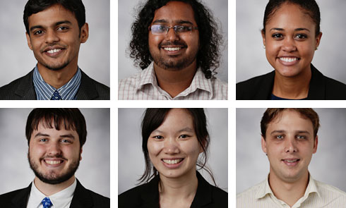 The Parsons Corporation big-data practicum team comprised MEMP students (clockwise from upper left) Priyam Bohra, Abhishek Dube, Ariane Callender, Carlos Gonzalez, Kaixi Hua and David Vanderschaaf.